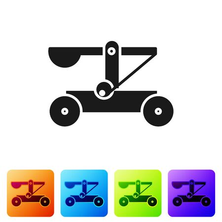 Black Old medieval wooden catapult shooting stones icon isolated on white background. Set icons in color square buttons. Vector Illustration 向量圖像
