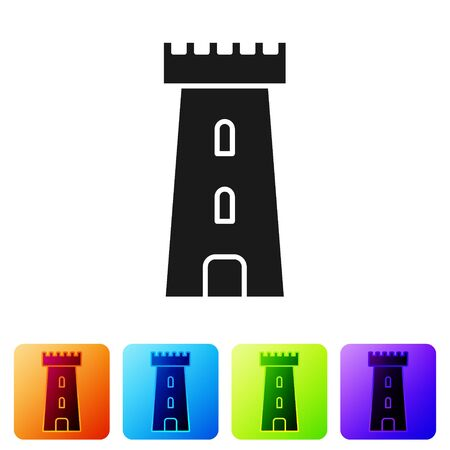 Black Castle tower icon isolated on white background. Fortress sign. Set icons in color square buttons. Vector Illustration