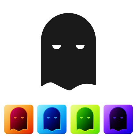 Black Executioner mask icon isolated on white background. Hangman, torturer, executor, tormentor, butcher, headsman icon. Set icons in color square buttons. Vector Illustration