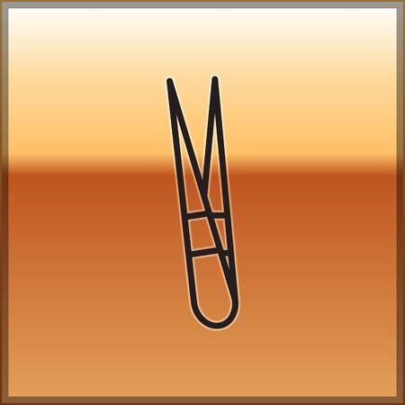 Black line Eyebrow tweezers icon isolated on gold background. Cosmetic tweezers for ingrown hair. Vector Illustration Illustration