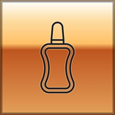 Black line Nail polish bottle icon isolated on gold background. Vector Illustration
