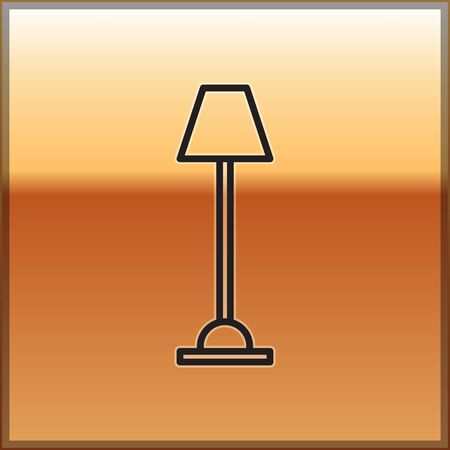 Black line Floor lamp icon isolated on gold background. Vector Illustration Illustration