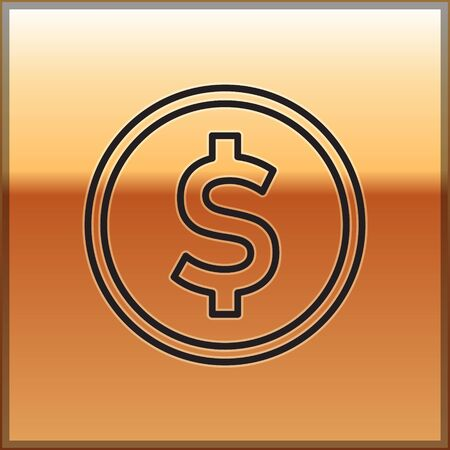 Black line Coin money with dollar symbol icon isolated on gold background. Banking currency sign. Cash symbol. Vector Illustration