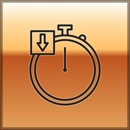 Black line Stopwatch icon isolated on gold background. Time timer sign. Chronometer. Vector Illustration 向量圖像