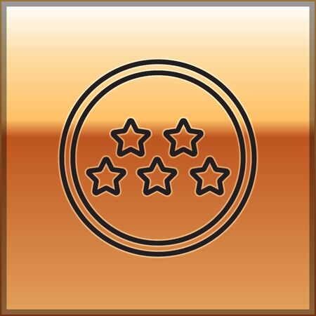 Black line Five stars customer product rating review icon isolated on gold background. Favorite, best rating, award symbol. Vector Illustration 向量圖像