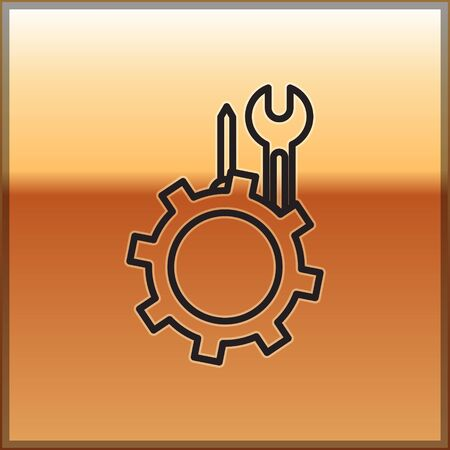 Black line Wrench and screwdriver in gear icon isolated on gold background. Adjusting, service, setting, maintenance, repair, fixing. Vector Illustration Vettoriali