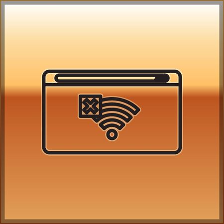 Black line No Internet connection icon isolated on gold background. No wireless wifi or sign for remote internet access. Vector Illustration