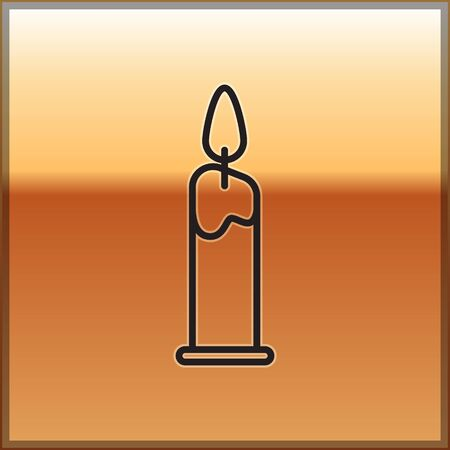 Black line Burning candle in candlestick icon isolated on gold background. Cylindrical candle stick with burning flame. Vector Illustration Иллюстрация