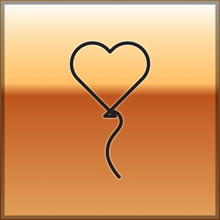 Black line Balloons in form of heart with ribbon icon isolated on gold background. Valentines day symbol. Vector Illustration Stock fotó - 138094515
