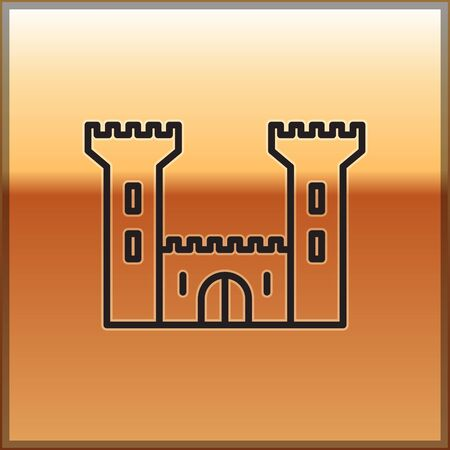 Black line Castle icon isolated on gold background. Fortress sign. Vector Illustration 向量圖像