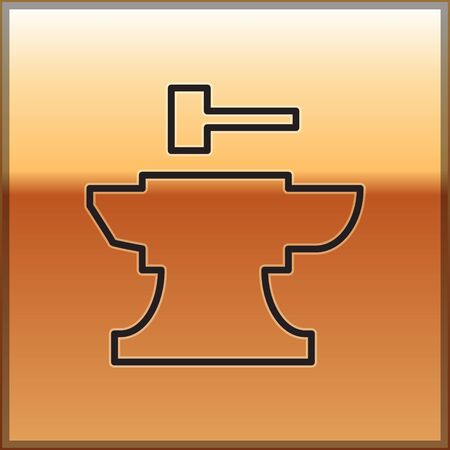 Black line Anvil for blacksmithing and hammer icon isolated on gold background. Metal forging. Forge tool. Vector Illustration
