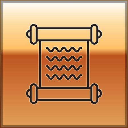 Black line Decree, paper, parchment, scroll icon icon isolated on gold background. Vector Illustration