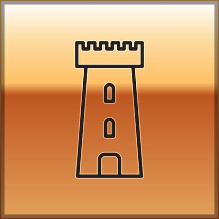 Black line Castle tower icon isolated on gold background. Fortress sign. Vector Illustration 向量圖像