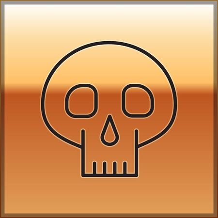 Black line Skull icon isolated on gold background. Vector Illustration