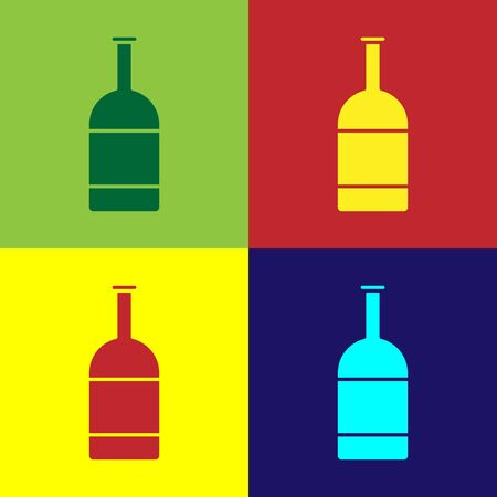Color Beer bottle icon isolated on color background.  Vector Illustration Stock Illustratie