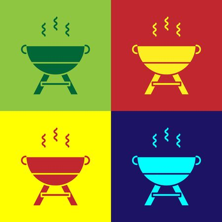 Color Barbecue grill icon isolated on color background. BBQ grill party.  Vector Illustration Illusztráció