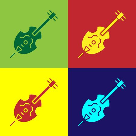 Color Violin icon isolated on color background. Musical instrument.  Vector Illustration