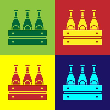 Color Pack of beer bottles icon isolated on color background. Wooden box and beer bottles. Case crate beer box sign.  Vector Illustration Stock Illustratie