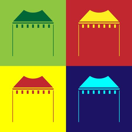 Color Camping tent icon isolated on color background. Carnival camping tent. Amusement park.  Vector Illustration