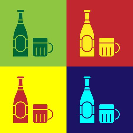 Color Beer bottle and glass icon isolated on color background. Alcohol Drink symbol.  Vector Illustration