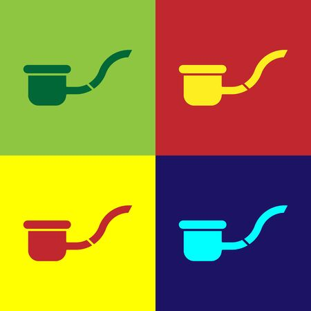 Color Smoking pipe with smoke icon isolated on color background. Tobacco pipe. Vector Illustration