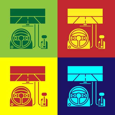 Color Racing simulator cockpit icon isolated on color background. Gaming accessory. Gadget for driving simulation game.  Vector Illustration