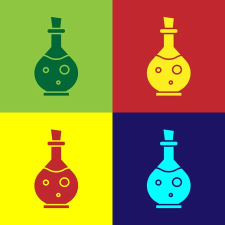 Color Glass bottle with magic elixir icon isolated on color background. Computer game asset. Vector Illustration