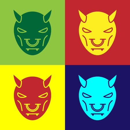 Color Mask of the devil with horns icon isolated on color background. Vector Illustration Ilustração
