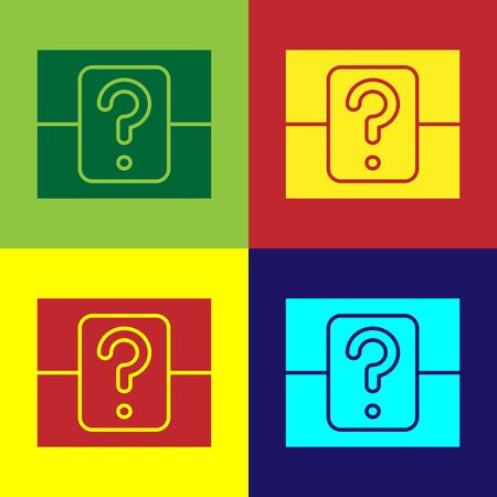 Color Mystery box or random loot box for games icon isolated on color background. Question box. Vector Illustration Ilustrace