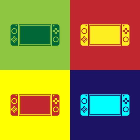 Color Portable video game console icon isolated on color background. Gamepad sign. Gaming concept. Vector Illustration Ilustração