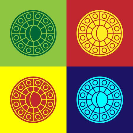 Color Astrology horoscope circle with zodiac icon isolated on color background. Vector Illustration