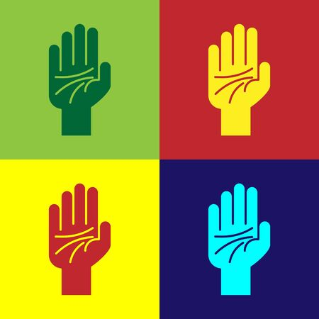 Color Palmistry of the hand icon isolated on color background. Vector Illustration Ilustração