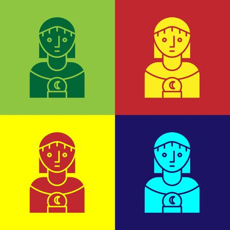 Color Astrology woman icon isolated on color background. Vector Illustration
