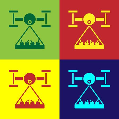 Color Smart farm with drone control collects harvest icon isolated on color background. Innovation technology for agricultural company.  Vector Illustration