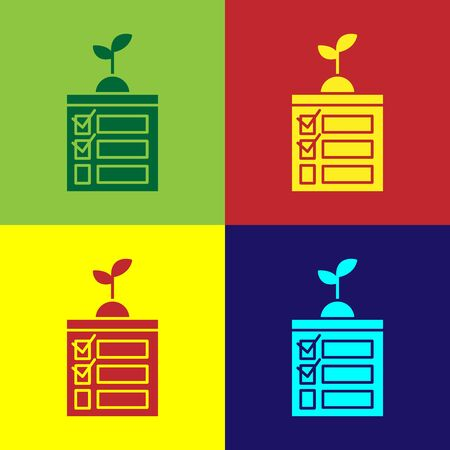 Color Smart farming technology - timer farm automation system in app icon isolated on color background. Vector Illustration