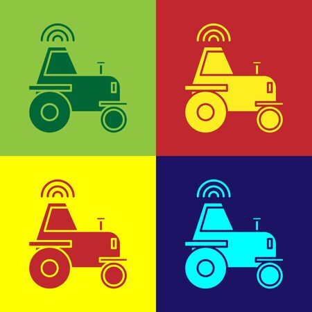 Color Self driving wireless tractor on a smart farm icon isolated on color background. Smart agriculture implement element. Vector Illustration 矢量图像