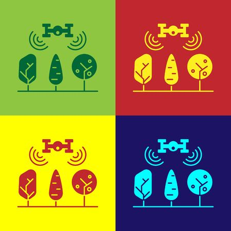 Color Smart farm with drone control and tree icon isolated on color background. Innovation technology for agricultural company. Vector Illustration