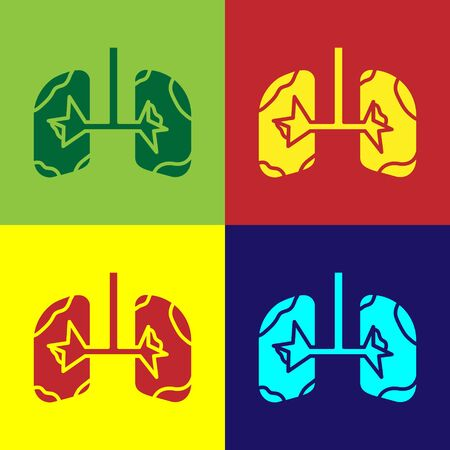 Color Lungs icon isolated on color background. Vector Illustration Banco de Imagens - 138110425