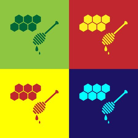 Color Honeycomb with honey dipper stickicon isolated on color background. Honey ladle. Honey cells symbol. Sweet natural food. Vector Illustration Ilustração