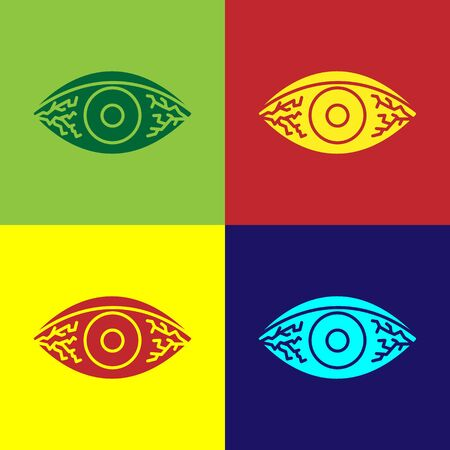 Color Reddish eye due to viral, bacterial or allergic conjunctivitis icon isolated on color background. Vector Illustration