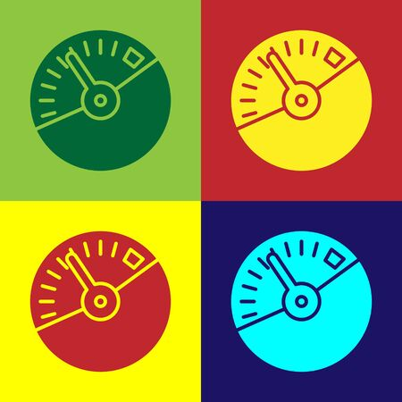 Color Speedometer icon isolated on color background. Vector Illustration