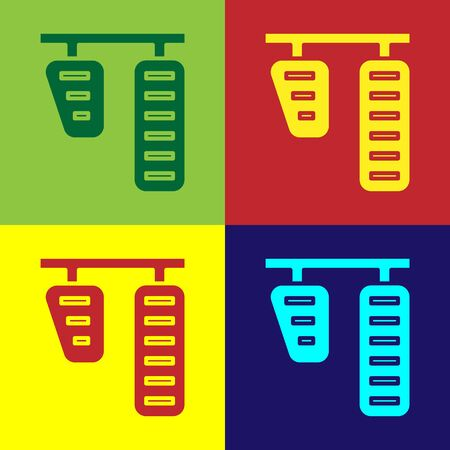 Color Car gas and brake pedals icon isolated on color background. Vector Illustration 일러스트