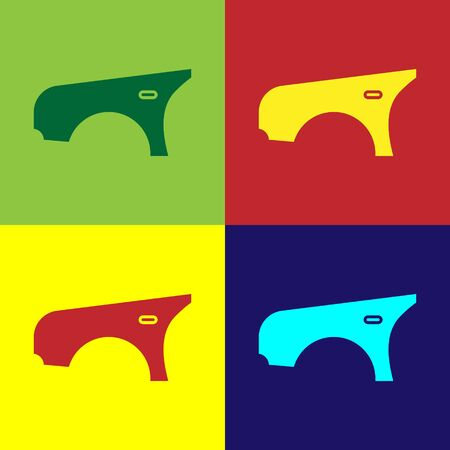 Color Car fender icon isolated on color background. Vector Illustration
