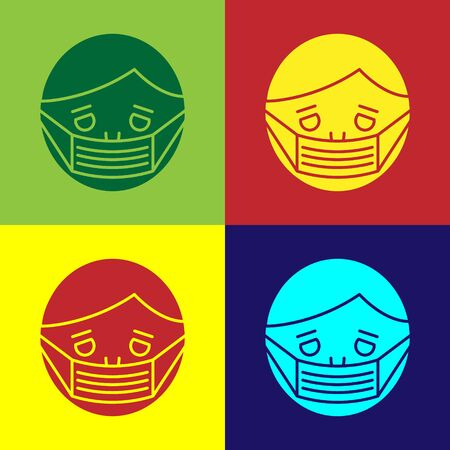 Color Man face in a medical protective mask icon isolated on color background. Quarantine. Vector Illustration