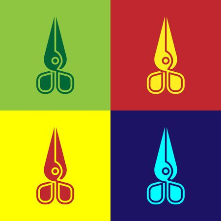 Color Scissors icon isolated on color background. Cutting tool sign. Vector Illustration