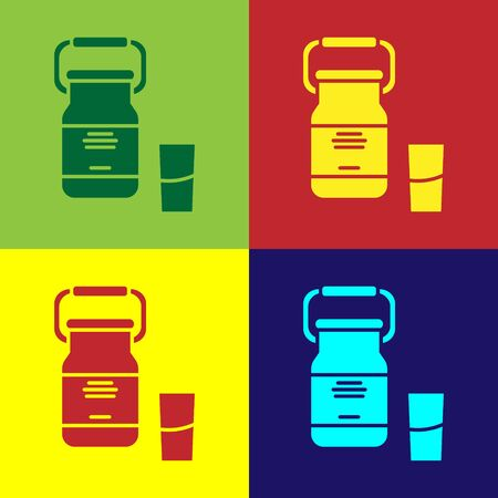 Color Can container for milk and glass icon isolated on color background. Vector Illustration Foto de archivo - 138110684