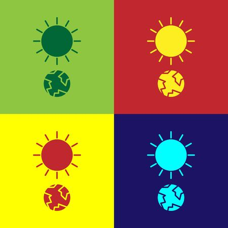 Color Solstice icon isolated on color background.  Vector Illustration