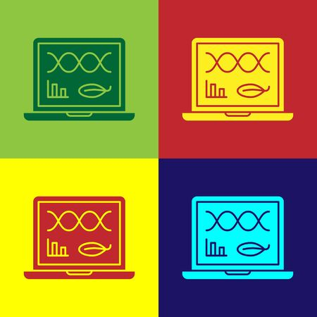 Color Genetic engineering modification on laptop icon isolated on color background. DNA analysis, genetics testing, cloning. Vector Illustration