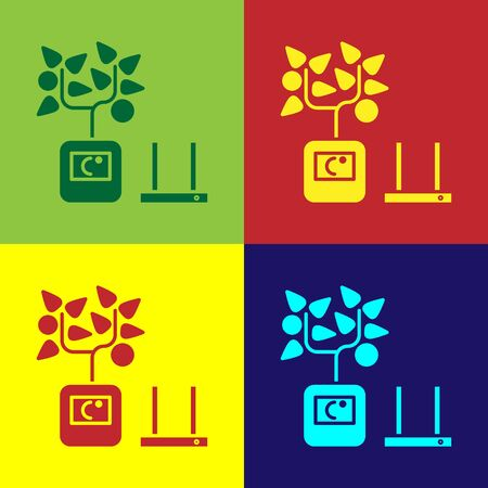 Color Smart farming technology - farm automation system in app icon isolated on color background. Vector Illustration
