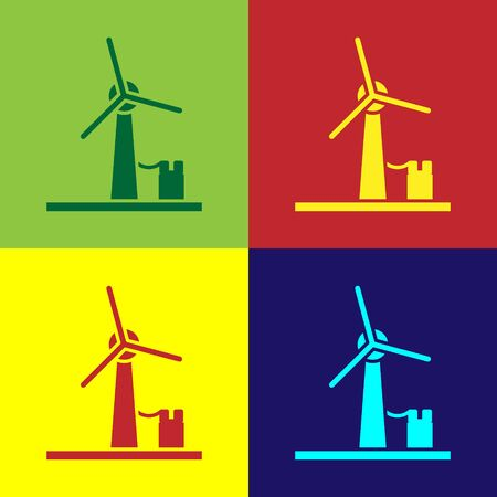 Color Wind turbine icon isolated on color background. Wind generator sign. Windmill for electric power production. Vector Illustration